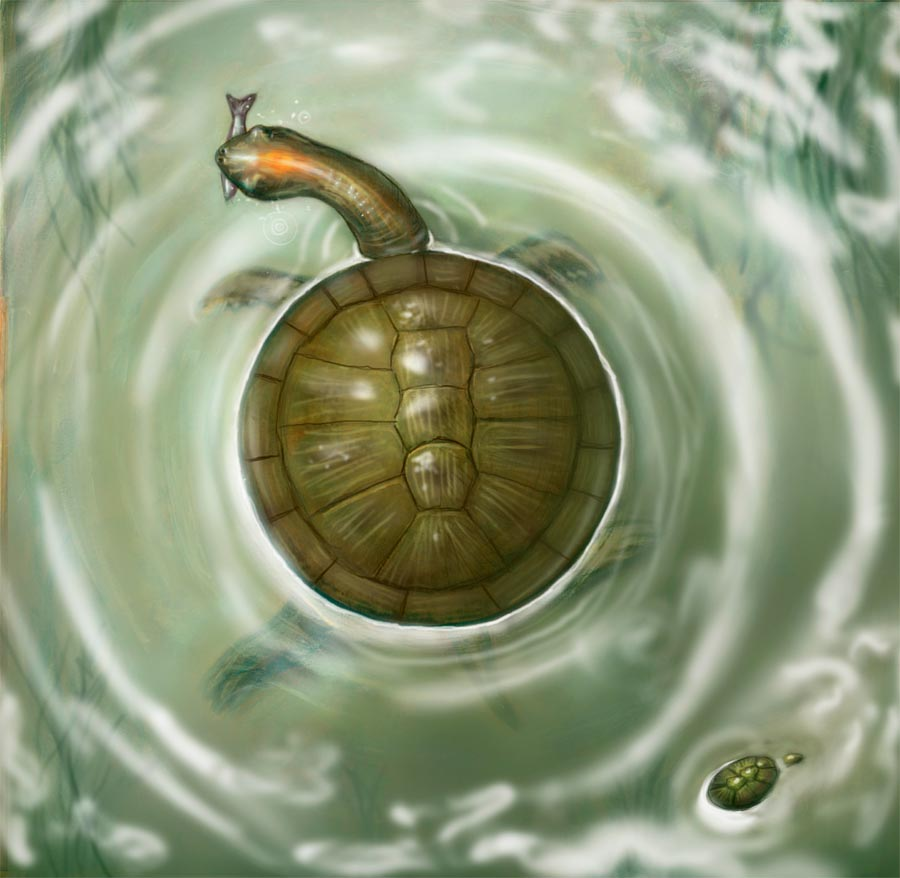 Giant Prehistoric Turtle And The Cosmic Turtle Japanese Mythology