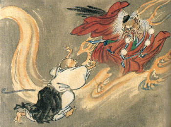 how japanese religion is depicted in Tengu (天狗, heavenly dog) are a type of legendary creature found in japanese folk religion and are also considered a type of shinto god or yōkai (supernatural beings) although they take their name from a dog-like chinese demon (), the tengu were originally thought to take the forms of birds of prey, and they are traditionally depicted.