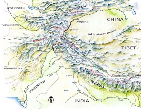 Map of Central Asia, including the Hindu Kush mountains (Jagged Globe)