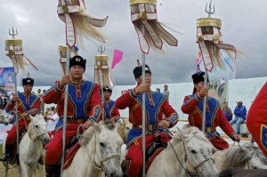 Tridents mounted at the tip of Mongol banners Naadam Festival Photo: Ludo. Kuipers