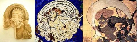 Iconographical evolution of the Wind God. Left: Greek wind god from Hadda[disambiguation needed], 2nd century. Middle: wind god from Kızıl[disambiguation needed], Tarim Basin, 7th century. Right: Japanese wind god Fūjin, 17th century