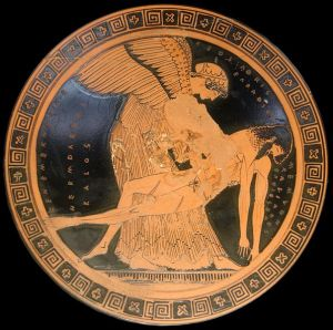 """Eos and the slain Memnon on an Attic red-figure cup, ca. 490–480 BCE, the so-called """"Memnon Pietà"""" found at Capua (Louvre)."""