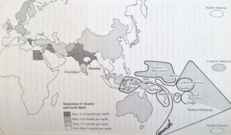 Separation of the heavens and Earth. This map shows the distribution of the story of the separation after the watery serpentine darkness of chaos from the South and West Pacific up to the northwest through China South Asia and then the Middle East and ending in northern Europe.