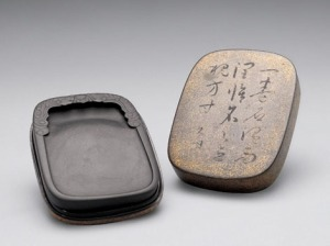 The best inkstones are said to come from Longwei (Dragon-tail) Mountain in Anhui. A stone inkstone was found in a 5,000-year-old archeological site in Jiazhai of Shanxi Province. Above Duan inkstone with relief carving of kui dragon grasping suns.