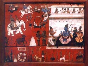 Yama's Court and Hell. The Blue figure is Yama with his consort Yami and Chitragupta. A 17th-century painting from the Government Museum in Chennai.