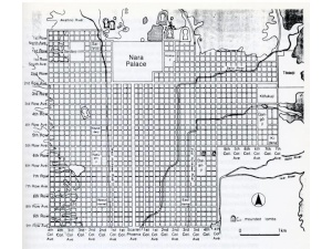 Plan of Nara (image source: wiki college notes by Angelo di Franco http://classconnection.s3.amazonaws.com/382/flashcards/676284/jpg/7.jpg)