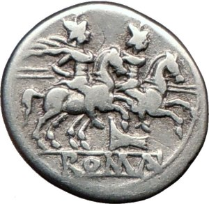 Castor and Pollux on a Roman coin