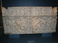 Roman sarcophagus with Castor and Pollux seizing the daughters of Leucippus, ca. 160