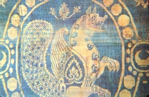 Samruk motif on a piece of Sassanid silk textile of the 6th - 7th c.