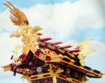 A pair phoenixes adorn the rooftops of the danjiri deity carrier during a festival in Takayama, Gifu prefecture.
