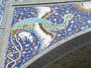 Simurgh or Phoenix decorative motif outside of Nadir Divan-Beghi madrasah, Bukhara, Uzbekistan