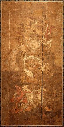 Painting of Tamonten, the Guardian of the North (one of the Four Guardian Kings). 13th century