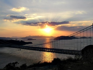 Sunset in Seto Sea. The bridge on the foreground is the Seto Ohash