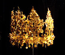 This crown was excavated from Grave Six in Tillia Tepe, Afghanistan and is estimated to be from the first or second century A.D. thus predating the Korean or Japanese crowns
