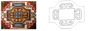 Rams' horn and cruciform motif