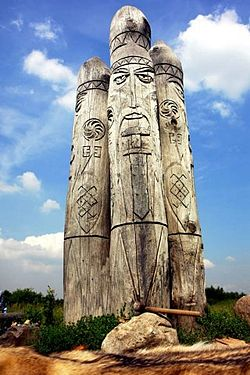 Modern wooden statue of Perun, the god of thunder and lightning, Ruthenia
