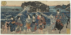 Three women on a shore on Enoshima, a Utagawa Sadatora yukiyo-e painting