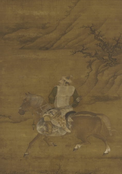 A Tartar (Jurchen) Huntsmen on His Horse, 15th century, ink and color painting on silk (source: Wikimedia Commons)