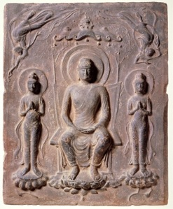 Buddha Triad (uncovered from the Kawara-dera temple site) Asuka period, 7th century  Asukamura Board of Education