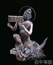 National Treasure Worshipping Bodhisattvas on Clouds South figure 1 Heian period, 1053 (Tengi 1) Byodo-in Temple, Kyoto