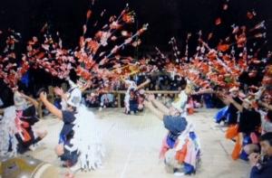 The Sarudengaku dance, part of the Fujimori no Ta-asobi festival in Yaizu, Shizuoka Prefecture. (Atsuo Negishi)