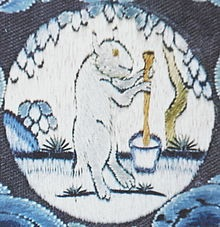 The mythological White Hare making the elixir of immortality on the Moon, from East Asian mythology.